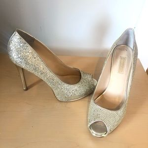 Sparkly Guess open toe high heels